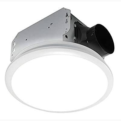 Homewerks 7141-50 Bathroom Fan Integrated LED Light Ceiling Mount Exhaust Ventilation, 0.7 Sones, 50 CFM, White from Homewerks Worldwide