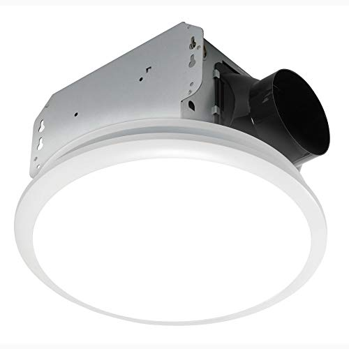 Homewerks 7141-80 Bathroom Fan Integrated LED Light Ceiling Mount Exhaust Ventilation, 1.1 Sones, 80 CFM