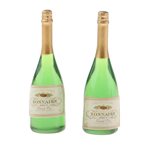 Hellery 2 Pieces 1:12 Green Wine Champagne Beer Bottles Home Decoration Dollhouse Furniture DIY Ornament Kit Miniature Toy Accessories Nice Paly for Toddlers Girls Boys