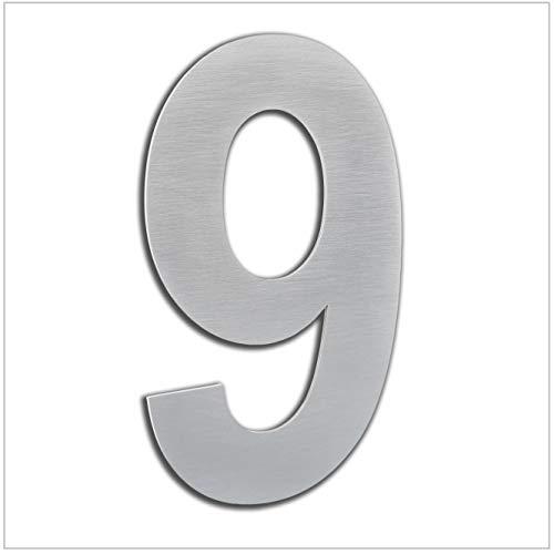 HERRAJES EVI Numero de Casa Exterior, Portal o Garaje, 16 cm, Acero Inoxidable AISI 304, Instalación Adhesiva (Numero 9) (0660160CPAM9)