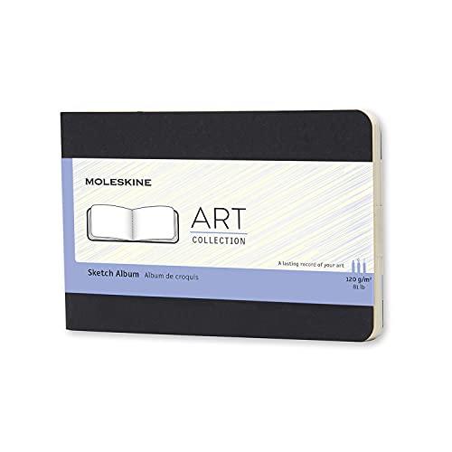 Moleskine Art Collection Skizzenbuch (Zeichenblock mit Hardcover, Papier geeignet für Stifte, Bleistifte & Zeichenkohle, Taschenformat 9 x 14 cm, 72 Seiten) schwarz
