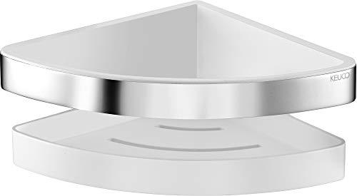 KEUCO Eck-Duschkorb aus Metall hochglanz-verchromt und Kunststoff weiß, Einsatz herausnehmbar, 18x18x8cm, Wandmontage in der Dusche, Duschregal, Moll