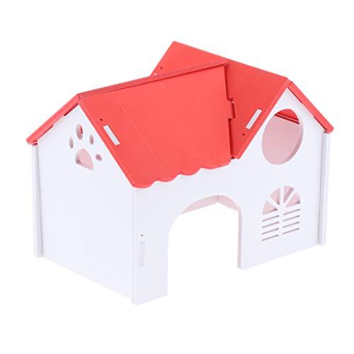 joyMerit DIY De Casa De Madera De Mascotas Nido De Hámsters Villa Escondida Juguete - Rojo