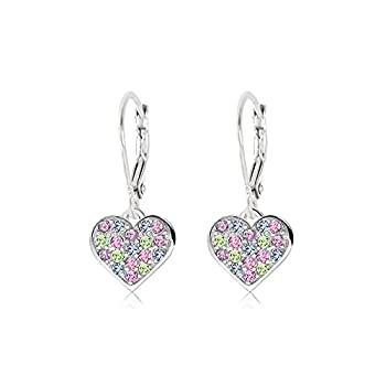 925 Sterling Silver with a White Gold Tone Mixed Colored Crystal Heart Leverback Children s Earrings