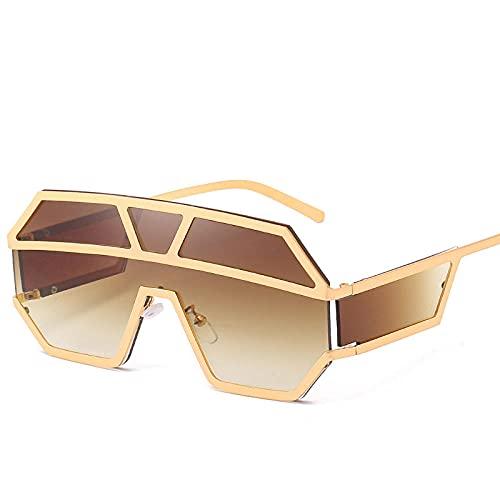 Powzz ornament Gafas de sol de gran tamaño de una pieza para mujer, gafas de sol de gran tamaño para mujer, gafas de sol cuadradas de sombra transparente-Brown_Universal