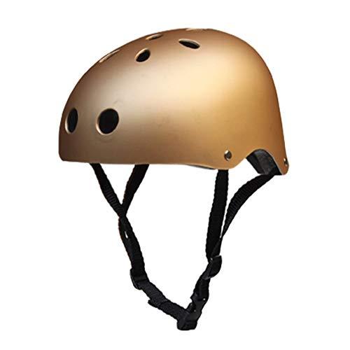 Jugend Mountain Inliner Skateboard Schutzhelm Rollschuhlaufen Farbiger Helm,Kinder Skateboarder Helm Fahrradhelm Integralhelm Rollerhelm für Radfahrer Scooter Bike Sicherheit Helm Kids,Gold