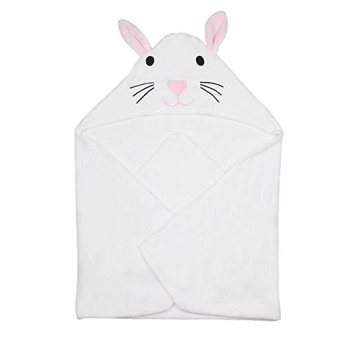 Manta del bebé, suave y transpirable puro algodón modelo animal para Bebé Albornoz Toalla de dibujos animados de Niños Toalla de baño con capucha(White/Rabbit)