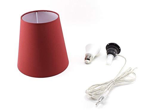 Kit Completo Paralume Bordeaux + Adattatore portalampada E27 con filo e interruttore trasparente - Lampada Led A+ in omaggio! Trasforma una bottiglia in lampada! Lampabottiglia.it