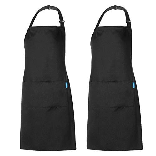 esonmus Grembiule regolabile da 2 pezzi con 2 tasche Grembiuli da Cucina per Cuoco, per Uomo e Donna, Nero
