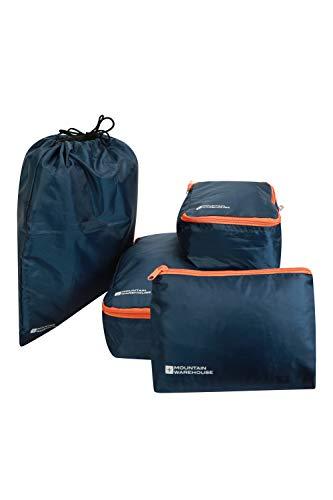 Mountain Warehouse Sacs d'emballage carrés avec Sac à Linge Sale - Organiseur de Bagages Compact - Idéal pour Se déplacer et pour Les Voyages à Pied Bleu Marine Taille Unique