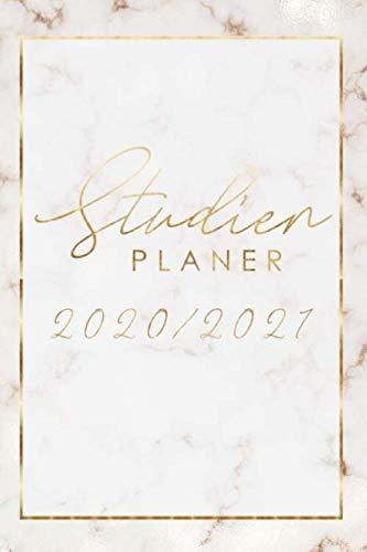 Studienplaner 2020/2021: Marmor Gold Design • Uniplaner, Semesterplaner, Studentenkalender von März 2020 bis April 2021 - 1 Woche 2 Seiten • ... WS, Platz für Zensuren, Prüfungen und Notizen