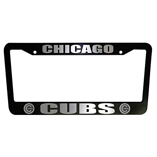 ClustersNN Bhartia Chicago Cubs Black Chrome License Plate Frame Stainless Metal Tag Holder 12' X 6'