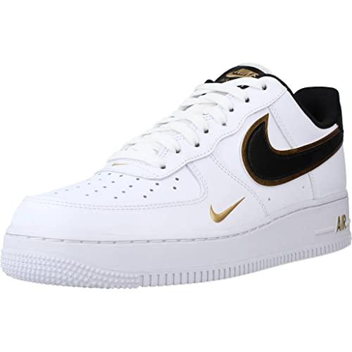 Nike Air Force 1 '07 LV8, Zapatillas de Baloncesto. Hombre, Blanco, Negro, metálico, Dorado y Blanco, 41 EU