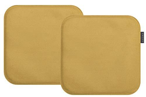 Magma-Heimtex Avaro, set di 2 cuscini quadrati per sedie, in finto feltro, circa: 35 x 35 cm (colore senape)