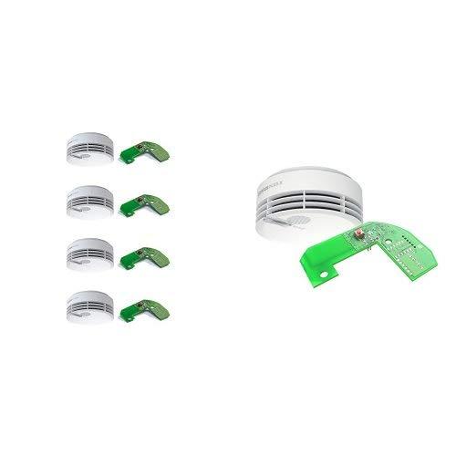 Hekatron 8er Set Rauchmelder Genius PLUS X – Funkvernetzbare Feuermelder – 10 Jahre Lebensdauer der Batterie, LED mehrfarbig & App-unterstützt – Weiß, inkl. 8 x Funkmodul Basis X