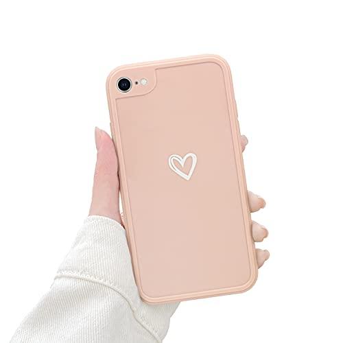 Newseego TPU Suave Funda para iPhone 7/8/Se, Carcasa Protectora Antigolpes con Parachoques para iPhone 7/8/Se Delgada Funda Love Heart Soft Silicona Case Cover para iPhone 7/8/Se-Rosa
