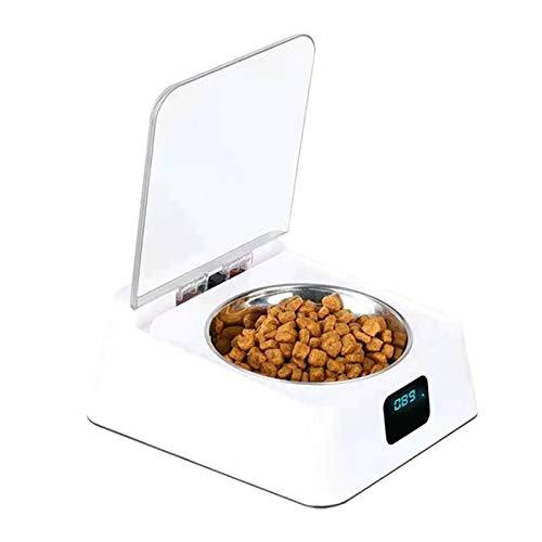 POHOVE Automatischer Futterspender für Katzen und Hunde, 350 ml, automatischer Futterspender für Katzen und Hunde, mit Digitalanzeige, Infrarot-Sensor, Futterschüssel für Katzen und Hunde