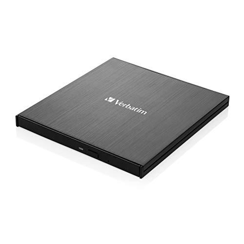 VERBATIM Externer Slimline Blu-ray-Writer I USB 3.2 Gen 1 mit USB-C Anschluss I Blu-ray-Player I Ultra HD 4K I Kompakter externer Blu-ray-Brenner I Externes Blu-ray-Laufwerk I schwarz