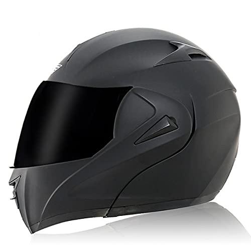 Casco Modular de Moto Flip Up Casco de Moto de Carreras con Doble Visera Mujeres Hombre Cara Abierta Cascos de Moto Casco Integral ECE Homologado Transpirable Y(Size:XL(61-62CM),Color:Lentes marrones)