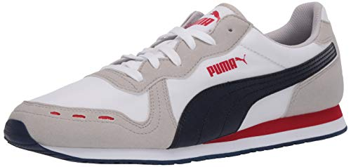 PUMA Cabana Run Sneaker, White-Gray Violet-Peacoat-High Risk Red, 9 M US