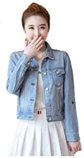 Fashion House Free Size Sky Blue Denim Jacket for Her - Chest/Bust Free Size Upto 34 and Length Upto 20 Inches.
