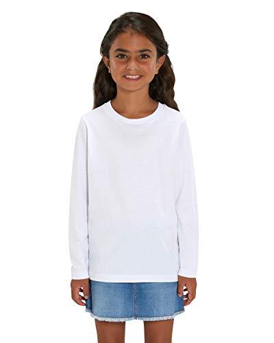 Hilltop Camiseta de manga larga para niños, 100% algodón orgánico, para niñas y niños. Es ideal para imprimir. (por ejemplo: con láminas de transferencia y textiles) blanco 110-116 cm