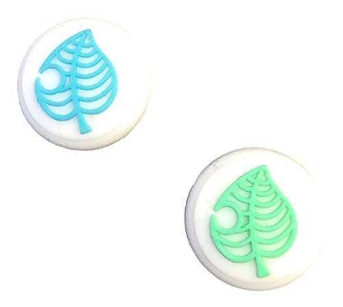 Animal Crossing - Green & Blue (on white) Leaf - Pack of 2 Thumb Grips -...