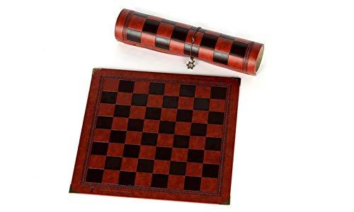 OYPY Tablero de ajedrez Diseño único de patrón en Relieve Cuero, Tablero de ajedrez General General Universal Chess Board Portátilescador portátil (Color : Chocolate)