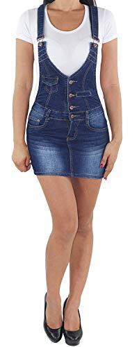 Sotala Damen Jeans Latzrock Mini Rock Latzjeans Jeansrock Minirock Träger Stretch Jeanskleid Minikleid Jeansmini Denim Latzkleid Sommerkleid A 36 (S)
