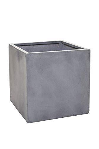 Vivanno Pflanzkübel Blumenkübel Fiberglas Beton-Design grau quadratisch Block - 45x45x45 cm