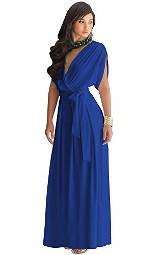 KOH KOH Plus Size Womens Long Formal Short Sleeve Cocktail Flowy V-Neck Casual Bridesmaid Wedding Party Guest Evening Cute Maternity Work Gown Gowns Maxi Dress Dresses, Cobalt/Royal Blue 2XL 18-20