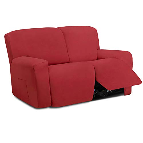 Easy-Going 6 Pieces Microfiber Stretch Sectional Recliner Sofa Slipcover Soft Fitted Fleece 2 Seats Couch Cover Washable Furniture Protector with Elasticity for Pet(Recliner Loveseat, Christmas Red)