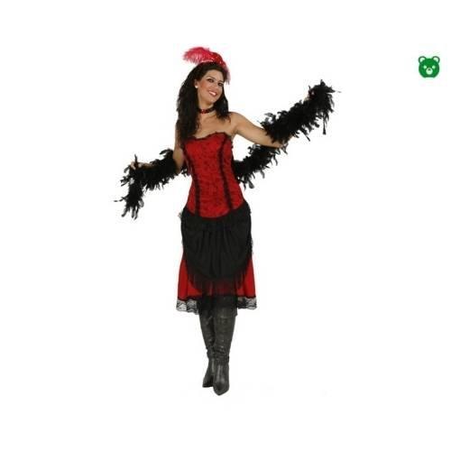 Disfraz de Cabaretera. Talla única de Mujer. Incluye: Vestido, Boa (roja o Negra), Diadema y Collar.