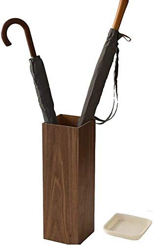Portaombrelli in Legno con Vaschetta Raccogligocce Salvaspazio per Ingresso Corridoio Color Noce