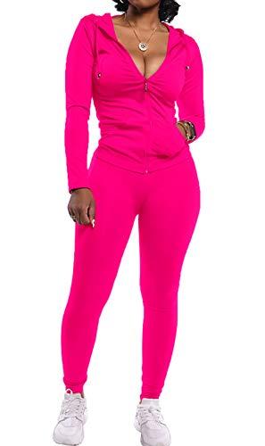 PRETTYGARDEN Women's Two Piece Tracksuit Set Long Sleeve Zipper Hoodie Jacket with Sweatpants Sweatsuit Jogger Workout Set Pink