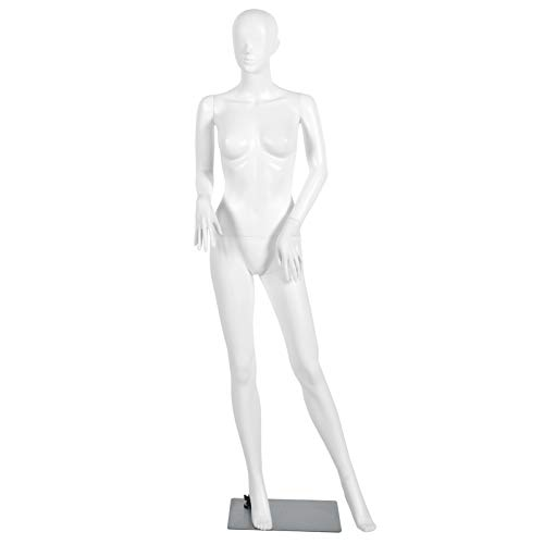 Giantex Female Mannequin Dress Form Display Manikin Torso Stand Realistic Metal Stand Plastic Detachable Clothing Full Body Mannequin W/Base White 5.8 FT (White Style 1)
