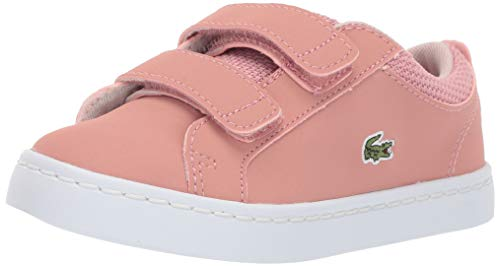 Lacoste Girls' Straightset Sneaker Pink/Natural 7.5. Medium US Toddler