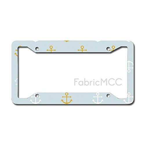 Dom576son License Plate Frame Blue Anchor Fabric Metal Tag Border US Size 12×6 Inches Auto License Plate Holder
