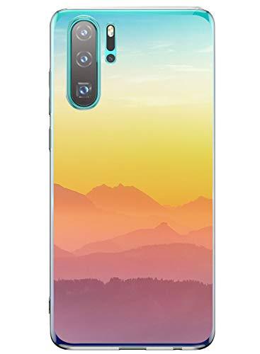Oihxse Mode Transparent Silicone Case Compatible pour Huawei Enjoy 9 Coque, Ultra Mince Souple TPU Mignon Animal Série Protection de Housse Anti-Scrach Bumper Etui -Montagne