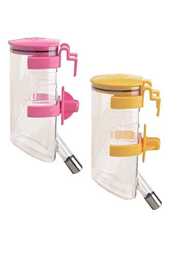 ペット給水器 ペット給水ボトル ペットウォーターボトル 水飲み器 犬 猫 小動物 吊り下げボトル 自動給水ボトル 留守番対応 ケージ用給水 2個セット 350ml (ピンク・イエロー)