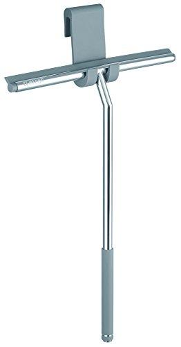 Nicol 2660400 Erik Duschabzieher aus Edelstahl glänzend verchromt, mit extra langem gummierten Griff und Silikon-Aufbewahrungshaken für Duschwand