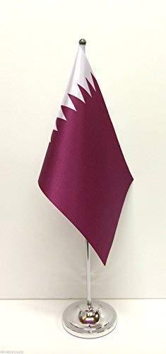 Katar Satin Flagge mit Chrom Boden Tisch Schreibtisch Flagge Set