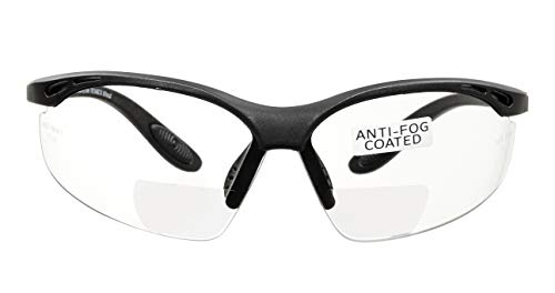 voltX 'CONSTRUCTOR' (TRANSPARENTE dioptría +2.5) Gafas de Seguridad de Lectura BIFOCALES que cumplen con la certificación CE EN166F / Gafas para Ciclismo incluye cuerda de seguridad - Reading Safety Glasses