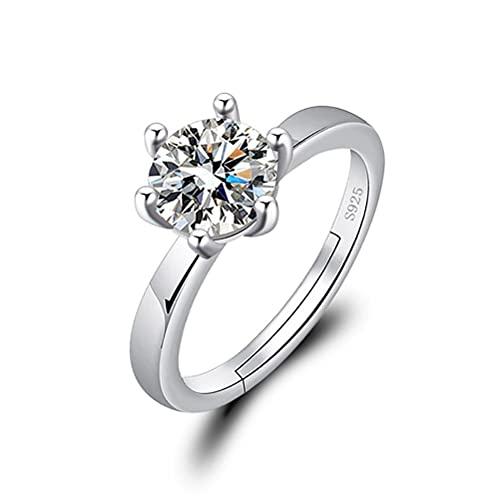 Auplew Anillos de compromiso para mujer, seis dientes, simulación de diamante, anillo abierto de 1 quilate, anillo de compromiso para boda, en lugar de un anillo real.