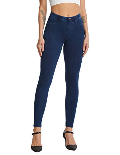 FITATH Women's Mid-Rise Skiny Ankle Jean Stretch Jeggings for Girls(M, Nightblue)