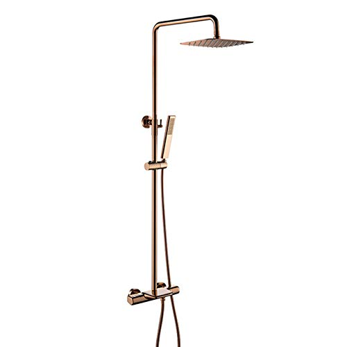Juego de grifos de ducha de oro rosa, grifo termostático de ducha de baño, sistema de ducha de lujo montado en la pared con juego de ducha de mano y caño de bañera