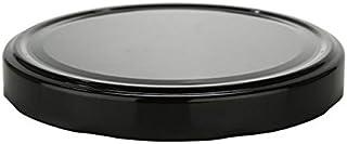 Nakpunar 24 pcs 110TW Black Lids, BPA Free Plastisol Lined - 110mm Lug Lids for Glass Jars, Canning, Preserving