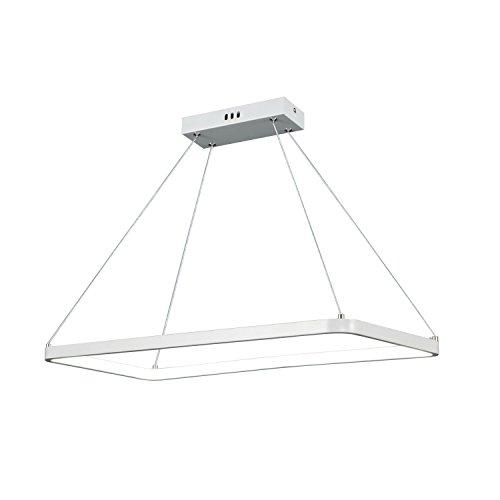 Unitary Brand Modern White Acrylic Rectangle Nature White LED Pendant Light with Max 15W Painted Finish
