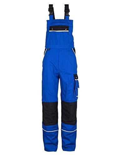 TMG Komfortable Herren Latzhose | Männer Arbeitslatzhose mit Reflektoren und Taschen für Kniepolster | Blaumann für Sanitär, Metallbau | Blau 50