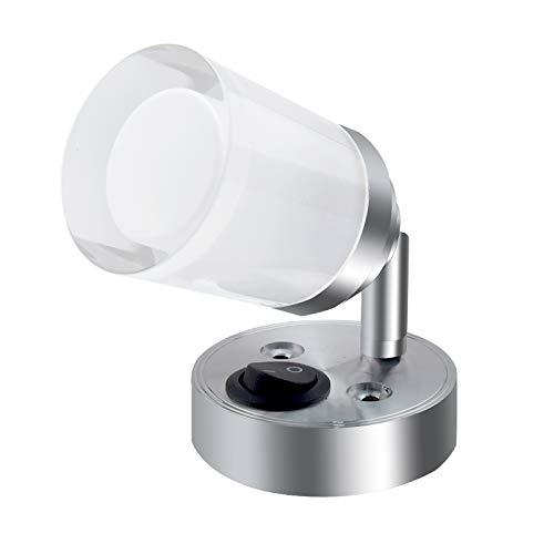 Bonlux LED Wandleuchte Lesen 3W Leselampe mit Schalter Kaltweiß 6000K DC12-24V 180 Grad Abstrahlwinkel Wandspot für Bett Wohnzimmer Arbeitszimmer Bibliothek Hotel(1 Stück)